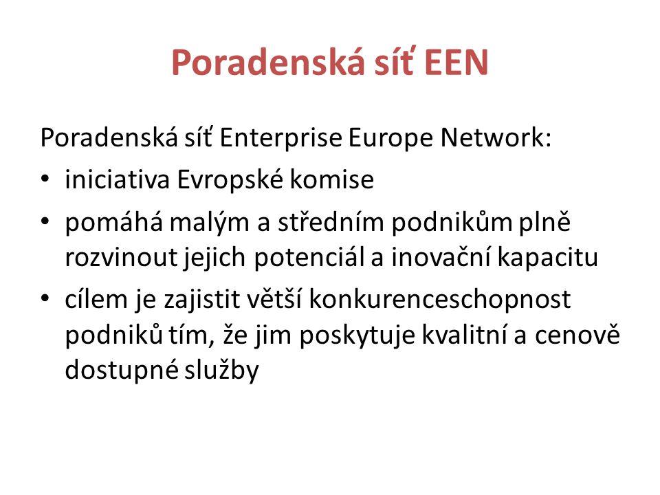 Poradenská síť EEN Poradenská síť Enterprise Europe Network: iniciativa Evropské komise pomáhá malým a středním podnikům plně rozvinout jejich potenciál a inovační kapacitu cílem je zajistit větší konkurenceschopnost podniků tím, že jim poskytuje kvalitní a cenově dostupné služby
