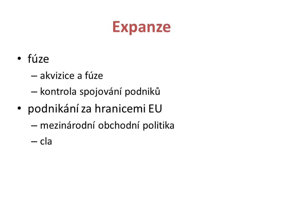 Expanze fúze – akvizice a fúze – kontrola spojování podniků podnikání za hranicemi EU – mezinárodní obchodní politika – cla