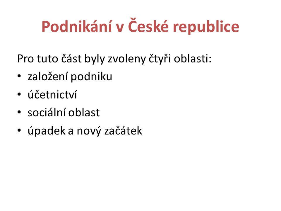 Podnikání v České republice Pro tuto část byly zvoleny čtyři oblasti: založení podniku účetnictví sociální oblast úpadek a nový začátek