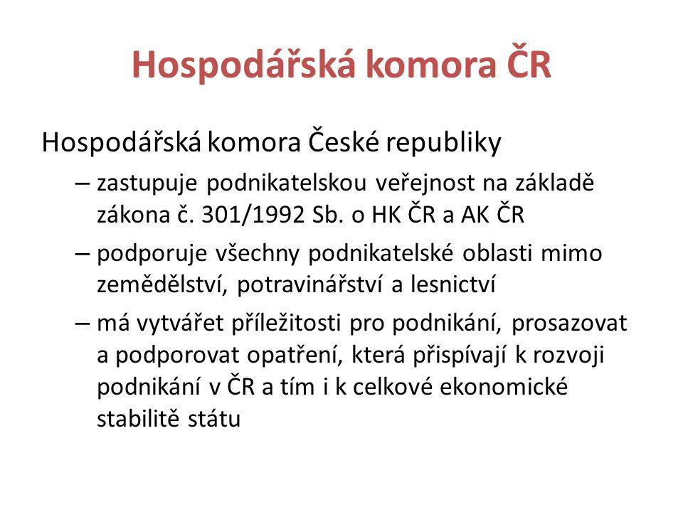 Hospodářská komora ČR Hospodářská komora České republiky – zastupuje podnikatelskou veřejnost na základě zákona č.