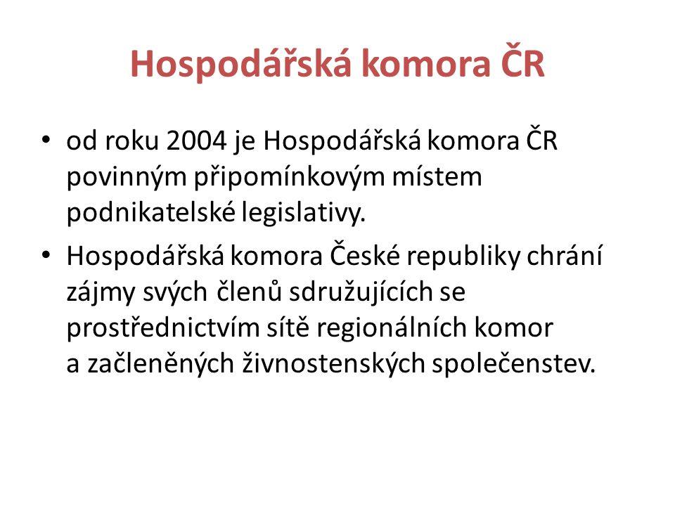 Hospodářská komora ČR od roku 2004 je Hospodářská komora ČR povinným připomínkovým místem podnikatelské legislativy.