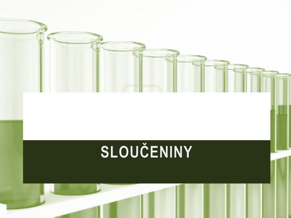 Chlorid amonnýNH 4 ClPájení, suché články (salmiak) Chlorid sodnýNaClV potravinářství, mýdlo, k úpravě silnic, výroba Na, Cl