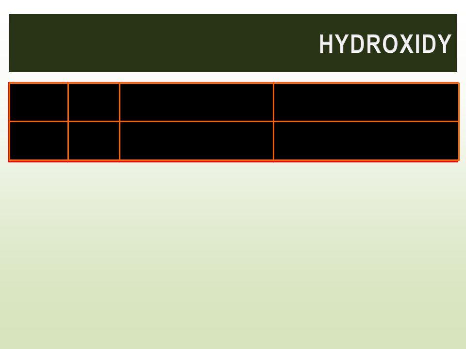 SodnýNaOH Bílá krystalická látka, silně leptavá Výroba mýdel, celulózy, léčiv, barviv VápenatýCa(OH) 2 Ve vodě téměř nerozpustná pevná bílá látka Výro