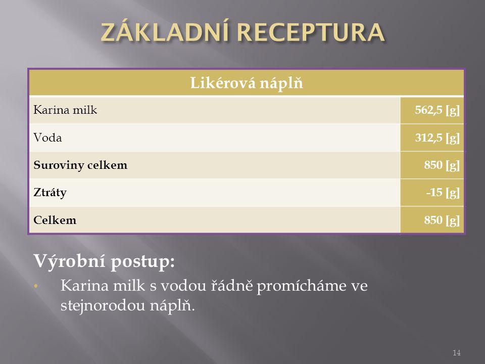 14 Likérová náplň Karina milk 562,5 [g] Voda 312,5 [g] Suroviny celkem850 [g] Ztráty-15 [g] Celkem850 [g] Výrobní postup: Karina milk s vodou řádně pr