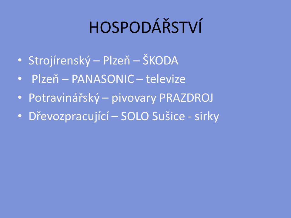 HOSPODÁŘSTVÍ Strojírenský – Plzeň – ŠKODA Plzeň – PANASONIC – televize Potravinářský – pivovary PRAZDROJ Dřevozpracující – SOLO Sušice - sirky