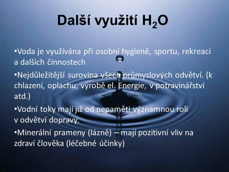 Další využití H 2 O Voda je využívána při osobní hygieně, sportu, rekreaci a dalších činnostech Nejdůležitější surovina všech průmyslových odvětví.
