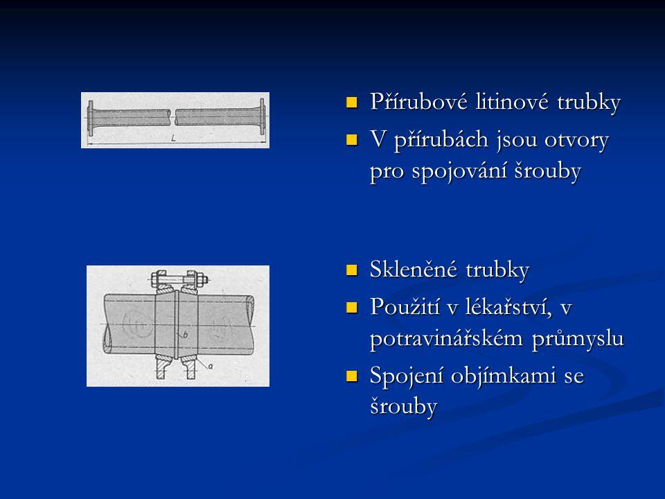 Přírubové litinové trubky V přírubách jsou otvory pro spojování šrouby Skleněné trubky Použití v lékařství, v potravinářském průmyslu Spojení objímkam