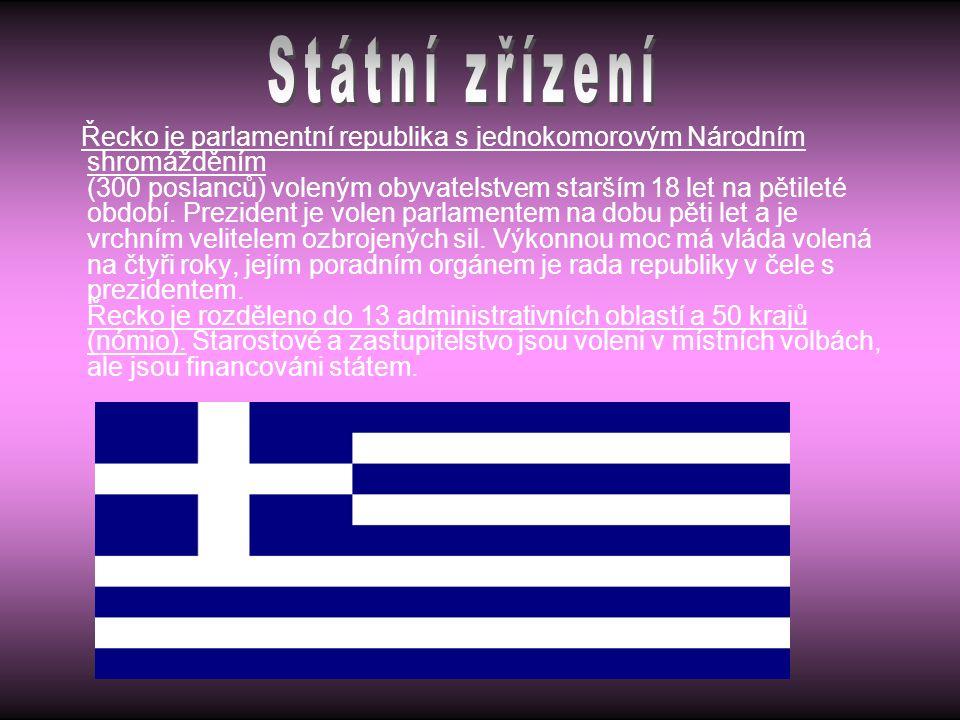 Řecko je parlamentní republika s jednokomorovým Národním shromážděním (300 poslanců) voleným obyvatelstvem starším 18 let na pětileté období. Preziden