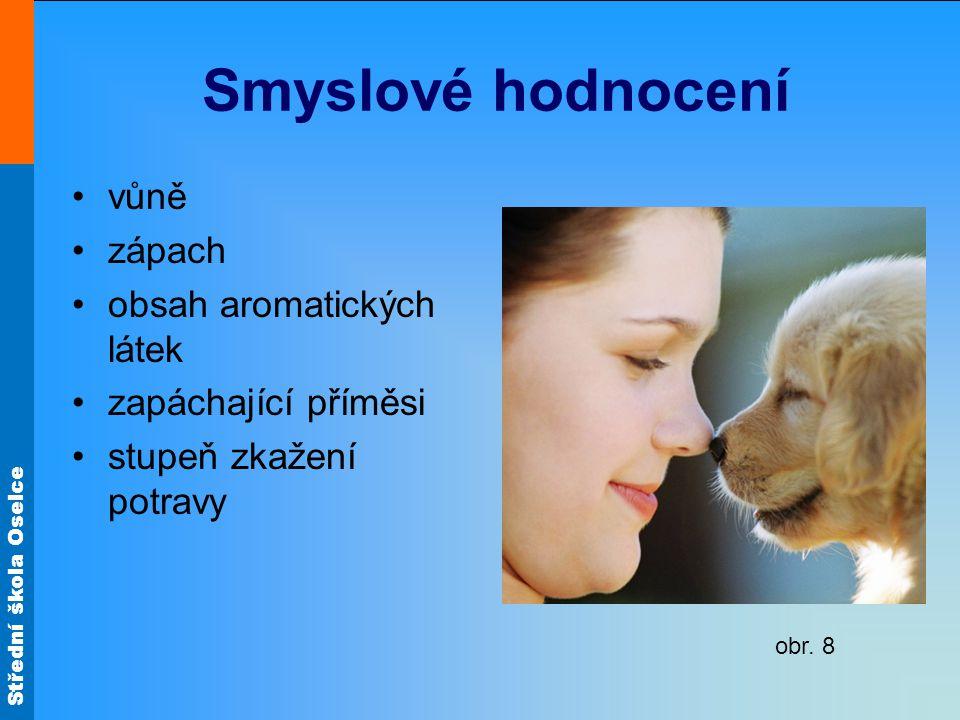 Střední škola Oselce Smyslové hodnocení vůně zápach obsah aromatických látek zapáchající příměsi stupeň zkažení potravy obr.