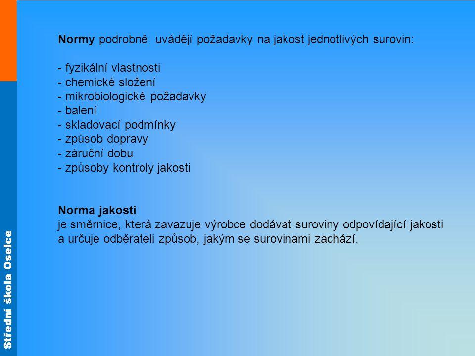 Střední škola Oselce Normy podrobně uvádějí požadavky na jakost jednotlivých surovin: - fyzikální vlastnosti - chemické složení - mikrobiologické poža