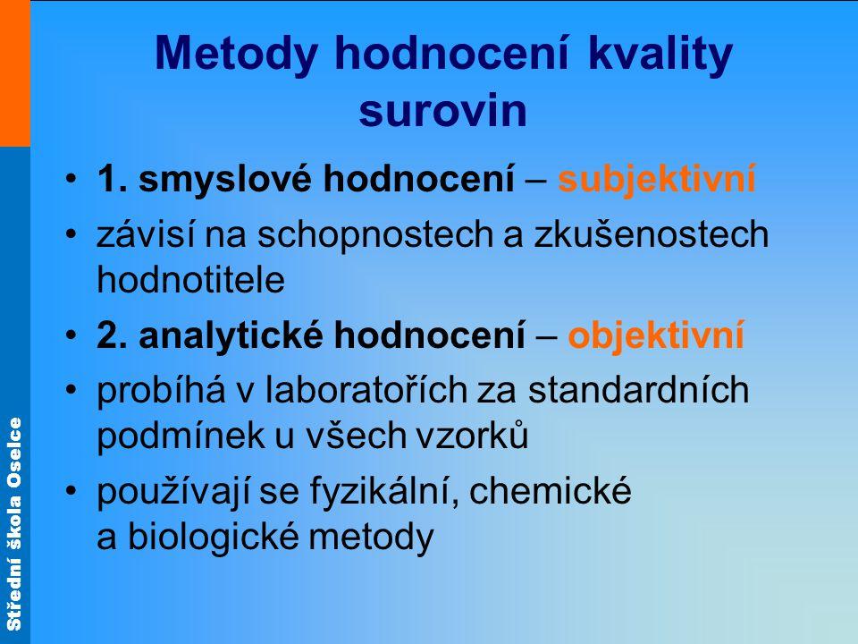 Střední škola Oselce Metody hodnocení kvality surovin 1.