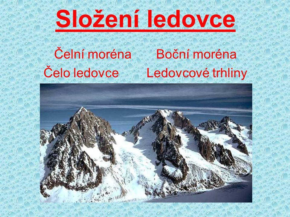 Složení ledovce Čelní moréna Boční moréna Čelo ledovce Ledovcové trhliny