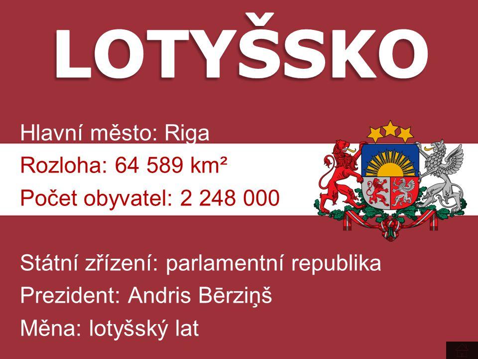Hlavní město: Riga Rozloha: 64 589 km² Počet obyvatel: 2 248 000 Státní zřízení: parlamentní republika Prezident: Andris Bērziņš Měna: lotyšský lat