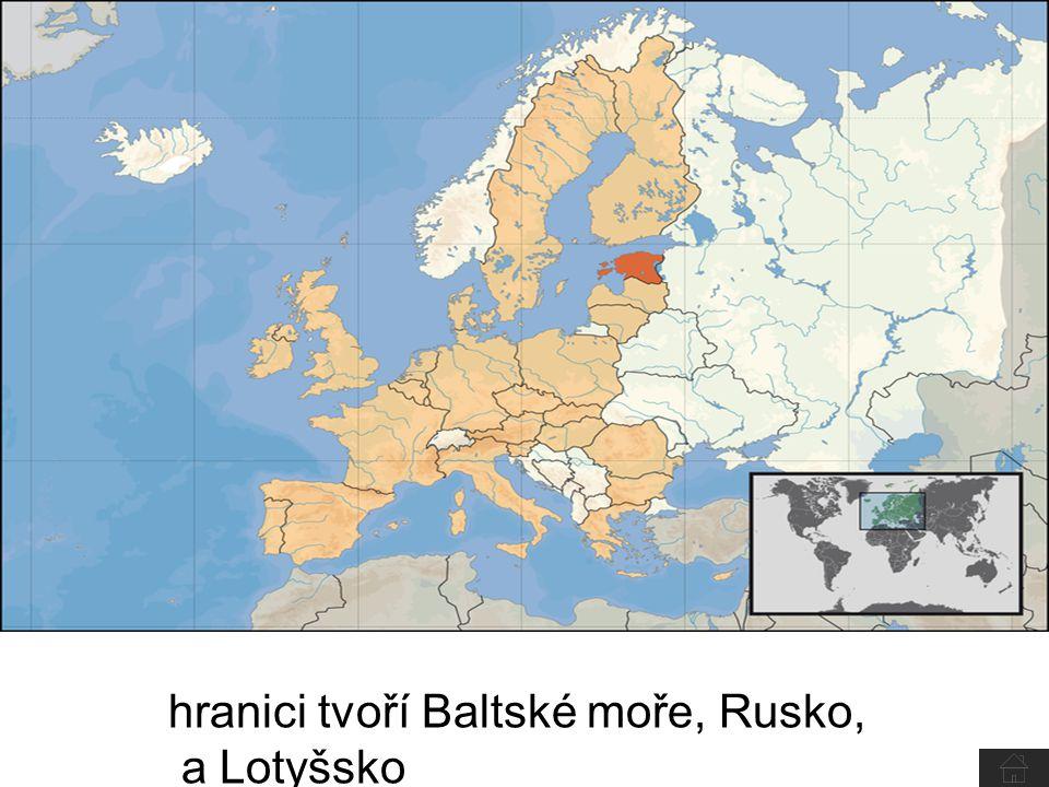 hranici tvoří Baltské moře, Rusko, a Lotyšsko