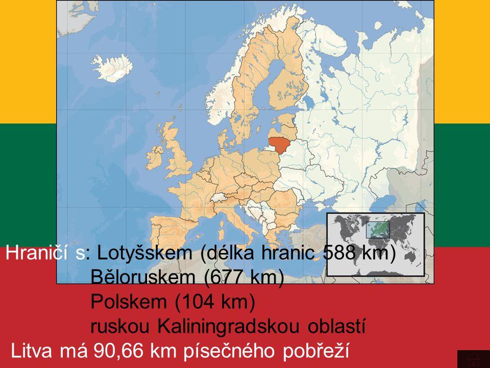 Hraničí s: Lotyšskem (délka hranic 588 km) Běloruskem (677 km) Polskem (104 km) ruskou Kaliningradskou oblastí Litva má 90,66 km písečného pobřeží