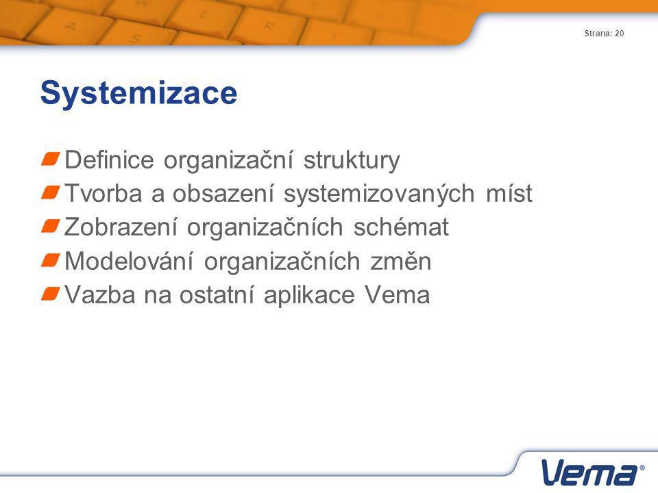 Strana: 20 Systemizace Definice organizační struktury Tvorba a obsazení systemizovaných míst Zobrazení organizačních schémat Modelování organizačních