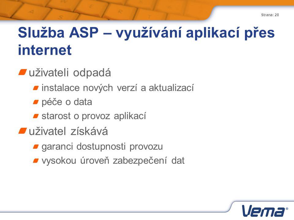 Strana: 28 Služba ASP – využívání aplikací přes internet uživateli odpadá instalace nových verzí a aktualizací péče o data starost o provoz aplikací u