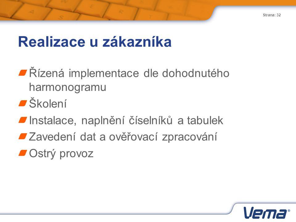 Strana: 32 Realizace u zákazníka Řízená implementace dle dohodnutého harmonogramu Školení Instalace, naplnění číselníků a tabulek Zavedení dat a ověřo