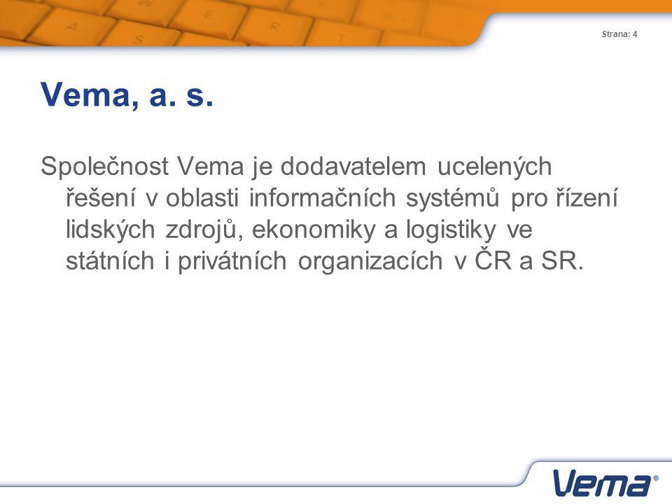 Strana: 4 Vema, a. s. Společnost Vema je dodavatelem ucelených řešení v oblasti informačních systémů pro řízení lidských zdrojů, ekonomiky a logistiky