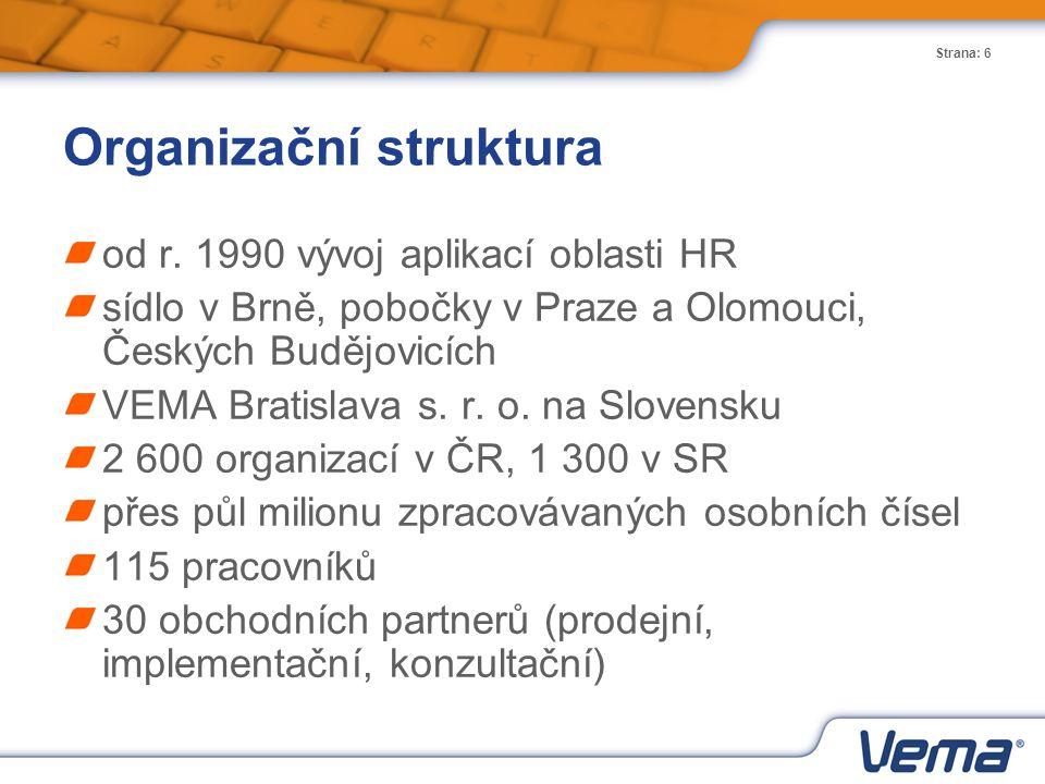 Strana: 6 Organizační struktura od r. 1990 vývoj aplikací oblasti HR sídlo v Brně, pobočky v Praze a Olomouci, Českých Budějovicích VEMA Bratislava s.