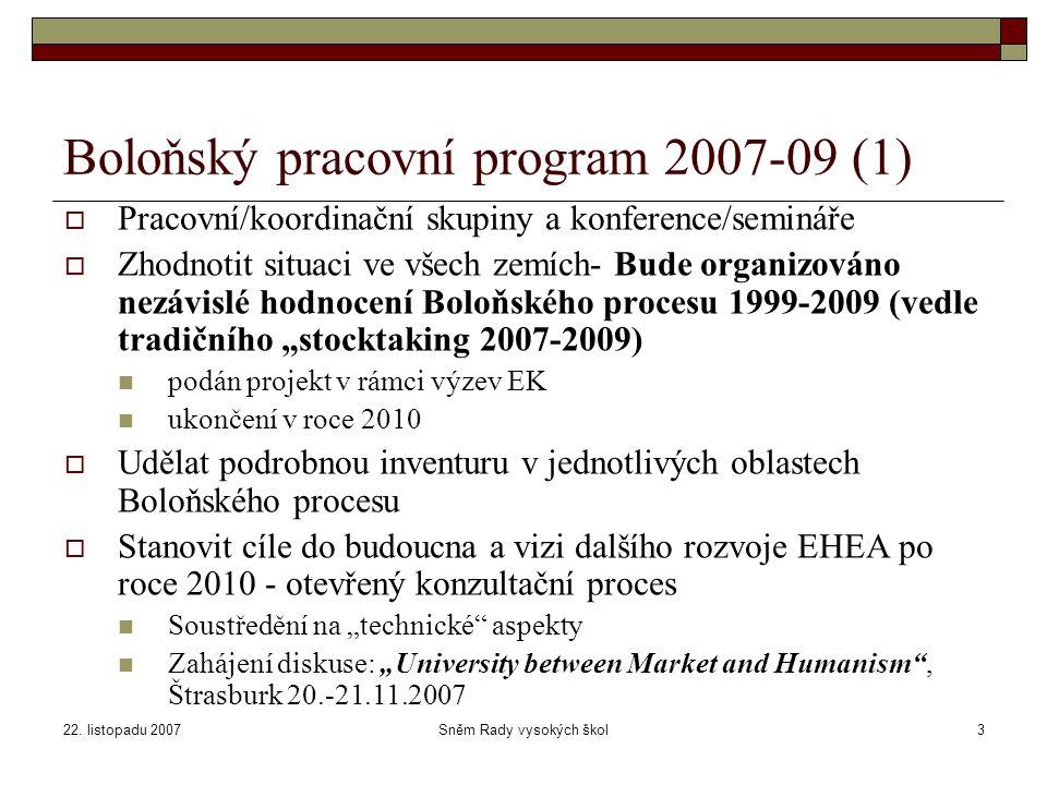 22. listopadu 2007Sněm Rady vysokých škol3 Boloňský pracovní program 2007-09 (1)  Pracovní/koordinační skupiny a konference/semináře  Zhodnotit situ