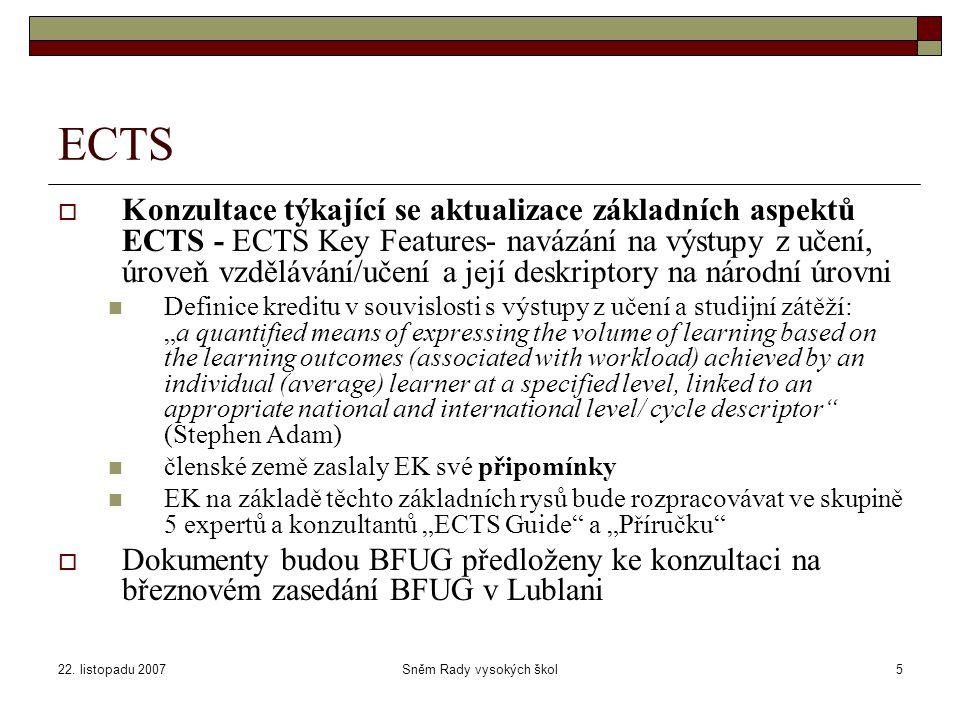 22. listopadu 2007Sněm Rady vysokých škol5 ECTS  Konzultace týkající se aktualizace základních aspektů ECTS - ECTS Key Features- navázání na výstupy