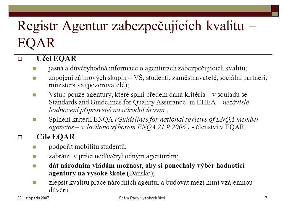 22. listopadu 2007Sněm Rady vysokých škol7 Registr Agentur zabezpečujících kvalitu – EQAR  Účel EQAR jasná a důvěryhodná informace o agenturách zabez