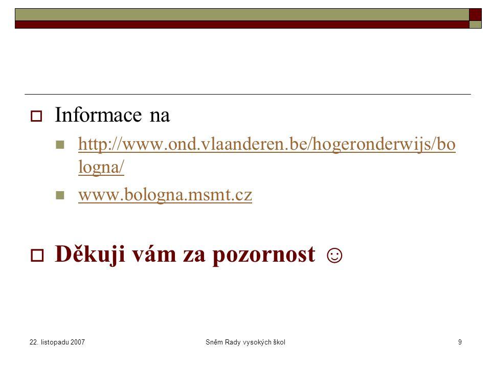 22. listopadu 2007Sněm Rady vysokých škol9  Informace na http://www.ond.vlaanderen.be/hogeronderwijs/bo logna/ http://www.ond.vlaanderen.be/hogeronde