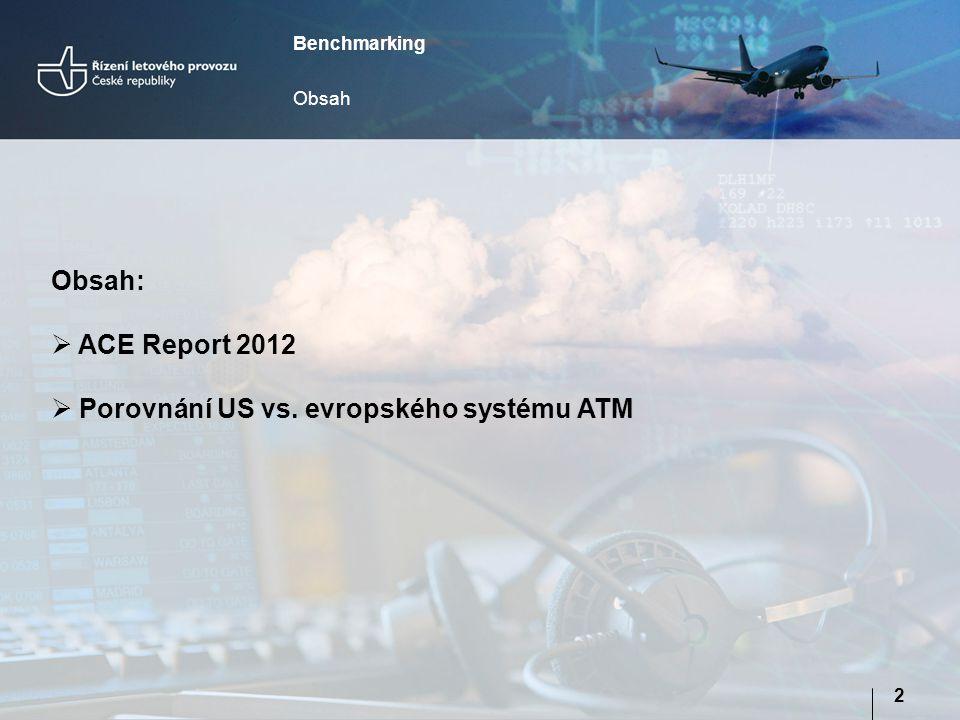 Benchmarking Obsah 2 Obsah:  ACE Report 2012  Porovnání US vs. evropského systému ATM