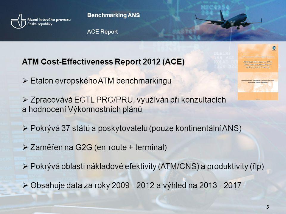 3 ATM Cost-Effectiveness Report 2012 (ACE)  Etalon evropského ATM benchmarkingu  Zpracovává ECTL PRC/PRU, využíván při konzultacích a hodnocení Výkonnostních plánů  Pokrývá 37 států a poskytovatelů (pouze kontinentální ANS)  Zaměřen na G2G (en-route + terminal)  Pokrývá oblasti nákladové efektivity (ATM/CNS) a produktivity (řlp)  Obsahuje data za roky 2009 - 2012 a výhled na 2013 - 2017 Benchmarking ANS ACE Report