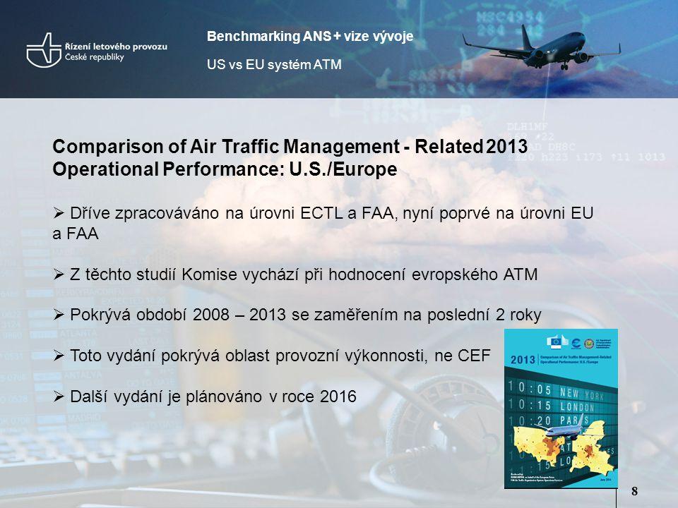 8 Comparison of Air Traffic Management - Related2013 Operational Performance: U.S./Europe  Dříve zpracováváno na úrovni ECTL a FAA, nyní poprvé na úrovni EU a FAA  Z těchto studií Komise vychází při hodnocení evropského ATM  Pokrývá období 2008 – 2013 se zaměřením na poslední 2 roky  Toto vydání pokrývá oblast provozní výkonnosti, ne CEF  Další vydání je plánováno v roce 2016 Benchmarking ANS + vize vývoje US vs EU systém ATM