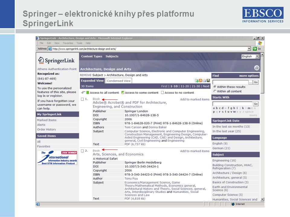 Springer – elektronické knihy přes platformu SpringerLink