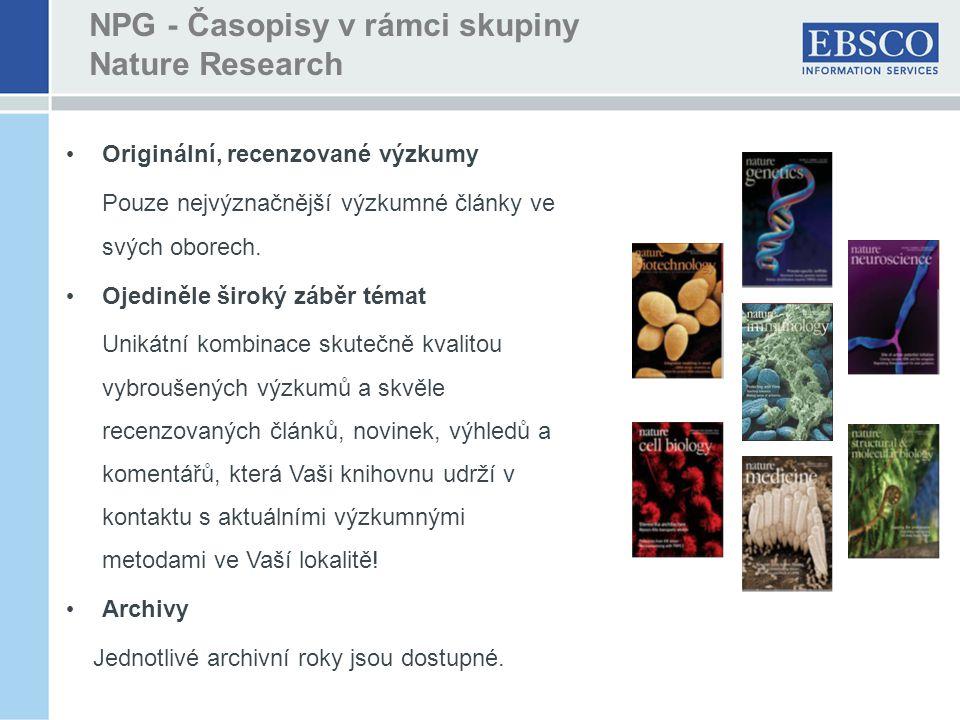 Originální, recenzované výzkumy Pouze nejvýznačnější výzkumné články ve svých oborech.