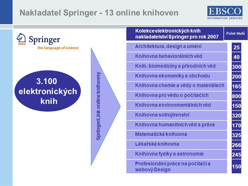 Nakladatel Springer - 13 online knihoven 3.100 elektronických knih SpringerLink online knihovny Kolekce elektronických knih nakladatelství Springer pro rok 2007 Architektura, design a umění Knihovna behaviorálních věd Knih.