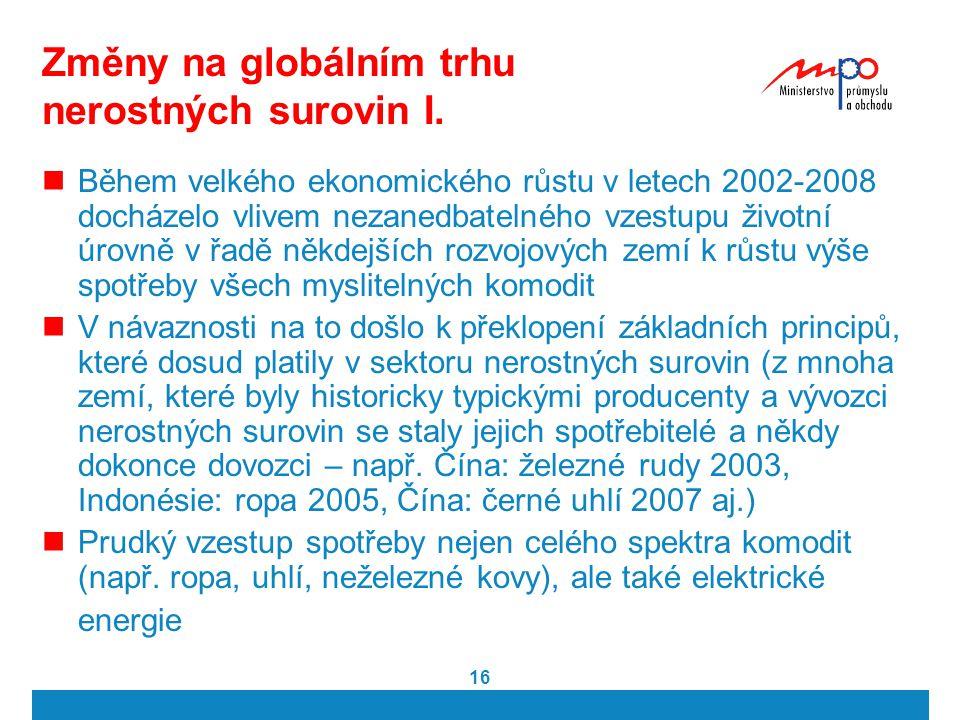 16 Změny na globálním trhu nerostných surovin I. Během velkého ekonomického růstu v letech 2002-2008 docházelo vlivem nezanedbatelného vzestupu životn
