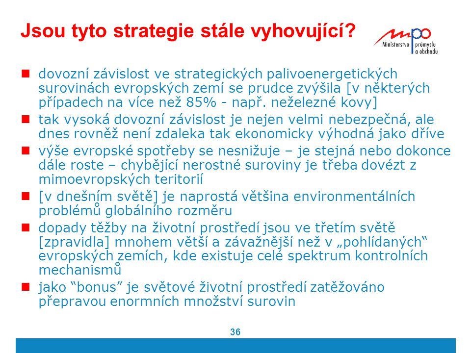 36 Jsou tyto strategie stále vyhovující? dovozní závislost ve strategických palivoenergetických surovinách evropských zemí se prudce zvýšila [v někter