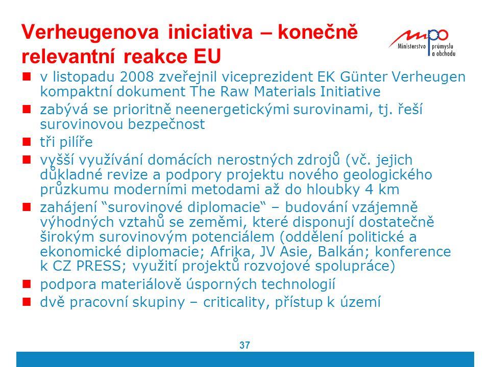 37 Verheugenova iniciativa – konečně relevantní reakce EU v listopadu 2008 zveřejnil viceprezident EK Günter Verheugen kompaktní dokument The Raw Mate