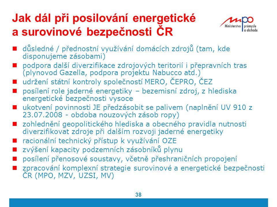 38 Jak dál při posilování energetické a surovinové bezpečnosti ČR důsledné / přednostní využívání domácích zdrojů (tam, kde disponujeme zásobami) podp