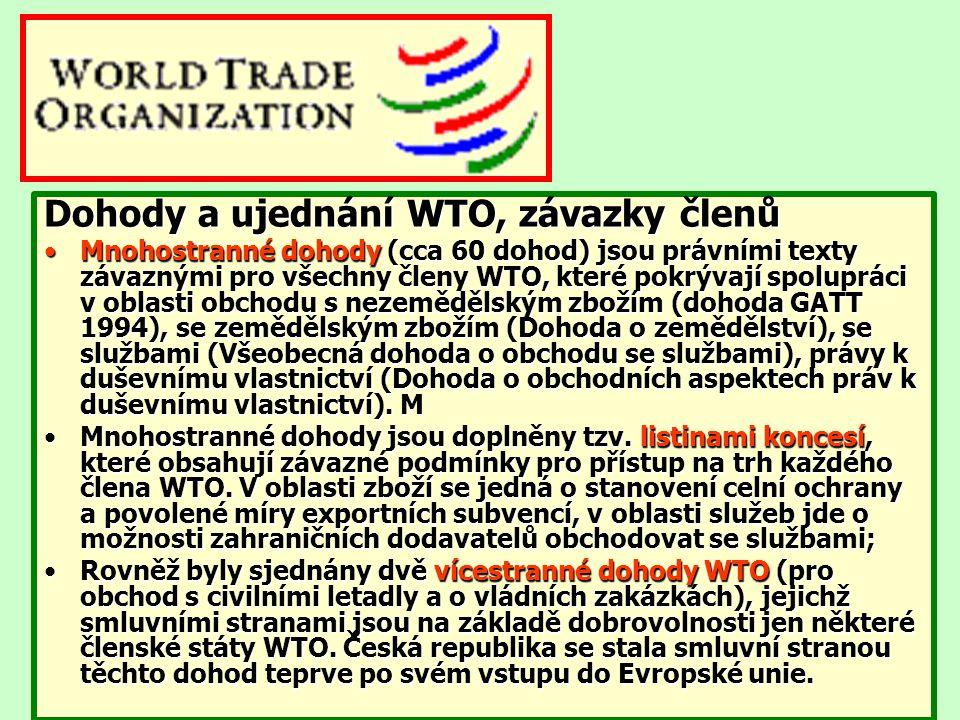 Dohody a ujednání WTO, závazky členů Mnohostranné dohody (cca 60 dohod) jsou právními texty závaznými pro všechny členy WTO, které pokrývají spoluprác