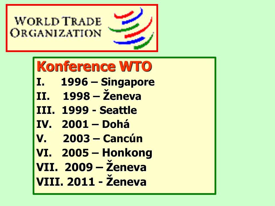 Konference WTO I. 1996 – Singapore II. 1998 – Ženeva III. 1999 - Seattle IV. 2001 – Dohá V. 2003 – V. 2003 – Cancún Honkong VI. 2005 – Honkong VII. 20