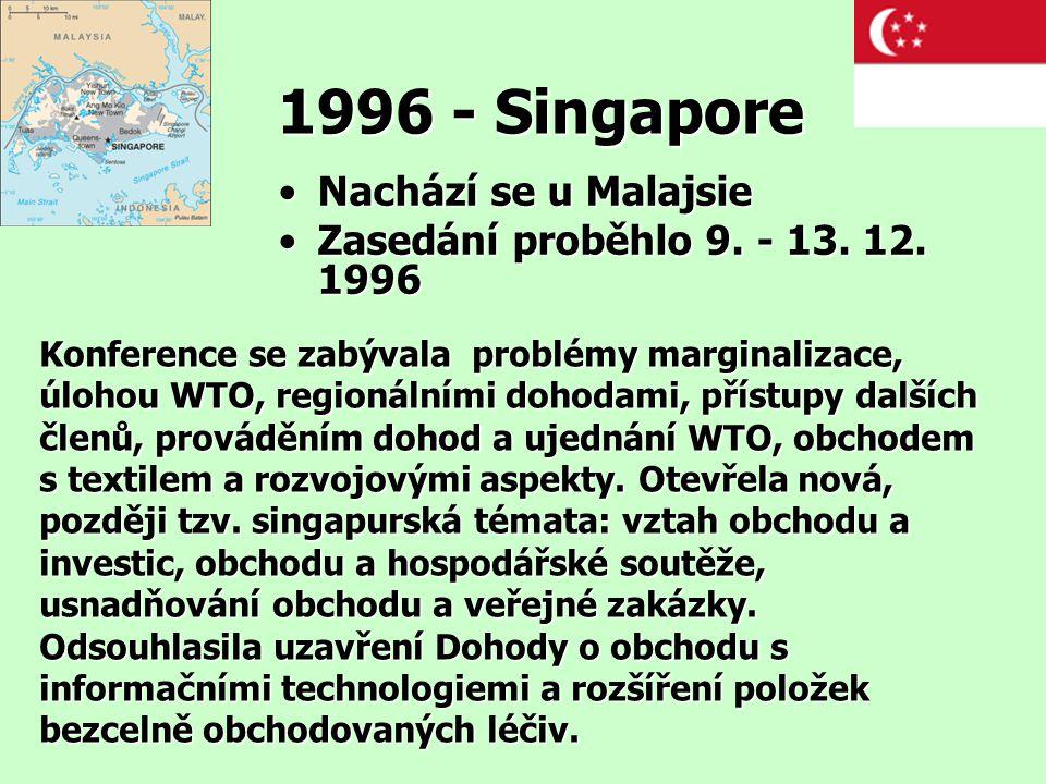 1996 - Singapore Nachází se u MalajsieNachází se u Malajsie Zasedání proběhlo 9. - 13. 12. 1996Zasedání proběhlo 9. - 13. 12. 1996 Konference se zabýv