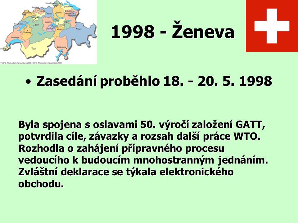 1998 - Ženeva Zasedání proběhlo 18. - 20. 5. 1998Zasedání proběhlo 18. - 20. 5. 1998 Byla spojena s oslavami 50. výročí založení GATT, potvrdila cíle,
