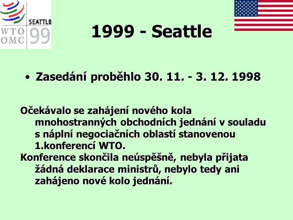 1999 - Seattle Zasedání proběhlo 30. 11. - 3. 12. 1998Zasedání proběhlo 30. 11. - 3. 12. 1998 Očekávalo se zahájení nového kola mnohostranných obchodn