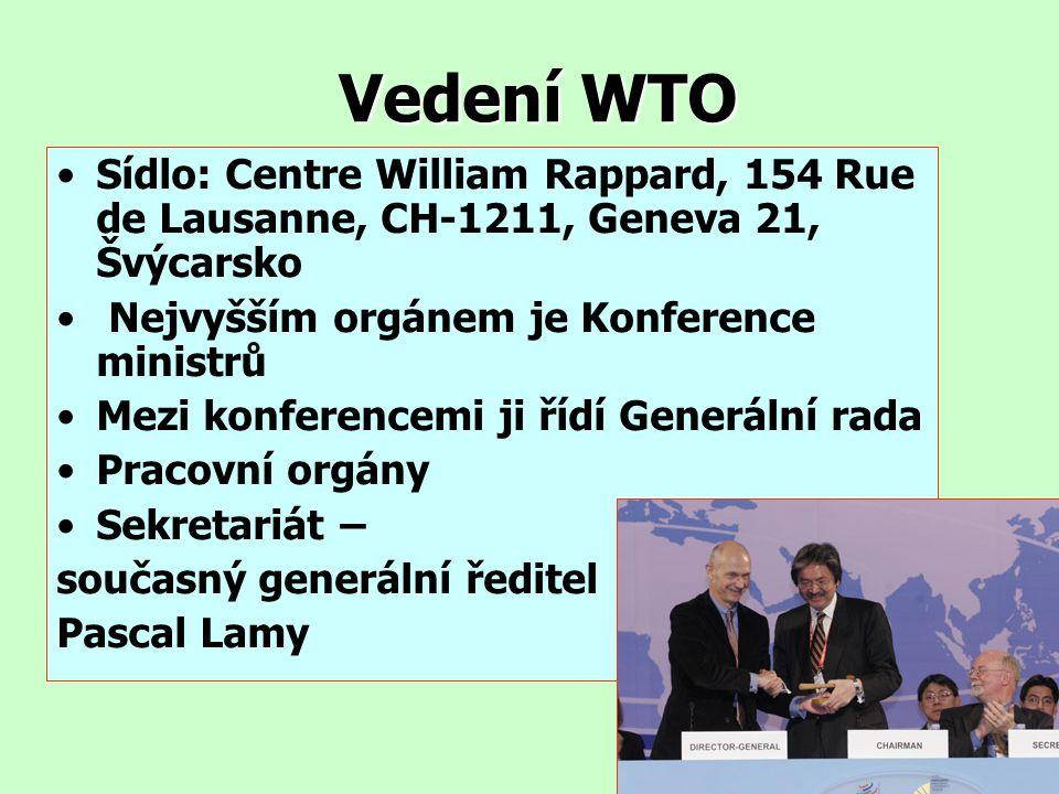 Vedení WTO Sídlo: Centre William Rappard, 154 Rue de Lausanne, CH-1211, Geneva 21, Švýcarsko Nejvyšším orgánem je Konference ministrů Mezi konferencem