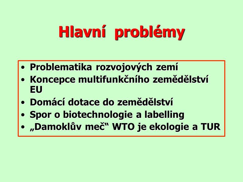 Hlavní problémy Problematika rozvojových zemíProblematika rozvojových zemí Koncepce multifunkčního zemědělství EUKoncepce multifunkčního zemědělství E