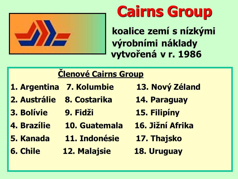 Cairns Group Cairns Group koalice zemí s nízkými výrobními náklady vytvořená v r. 1986 Členové Cairns Group 1. Argentina 7. Kolumbie 13. Nový Zéland 2