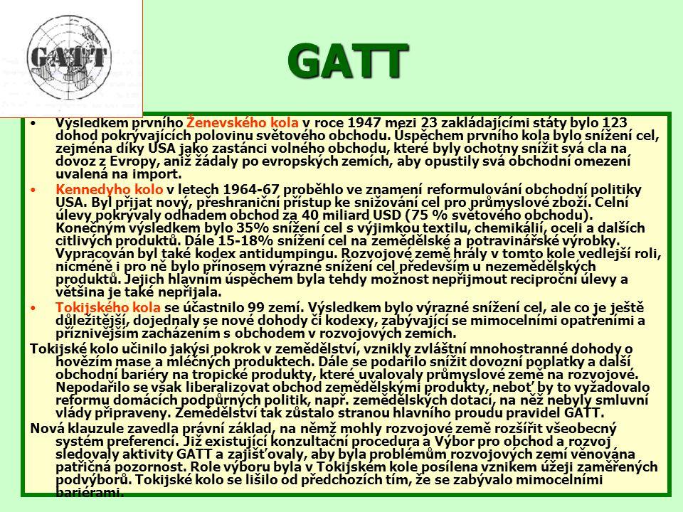 GATT Výsledkem prvního Ženevského kola v roce 1947 mezi 23 zakládajícími státy bylo 123 dohod pokrývajících polovinu světového obchodu. Úspěchem první