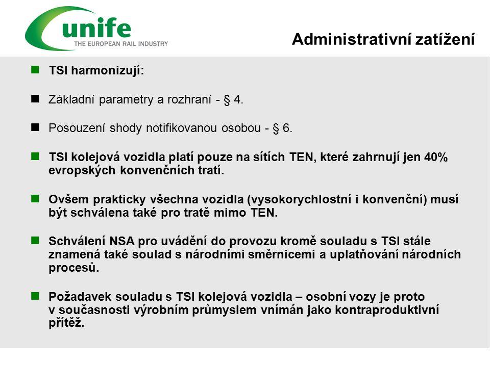 Administrativní zatížení TSI harmonizují: Základní parametry a rozhraní - § 4.