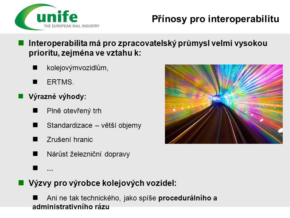 Přínosy pro interoperabilitu Interoperabilita má pro zpracovatelský průmysl velmi vysokou prioritu, zejména ve vztahu k: kolejovýmvozidlům, ERTMS.