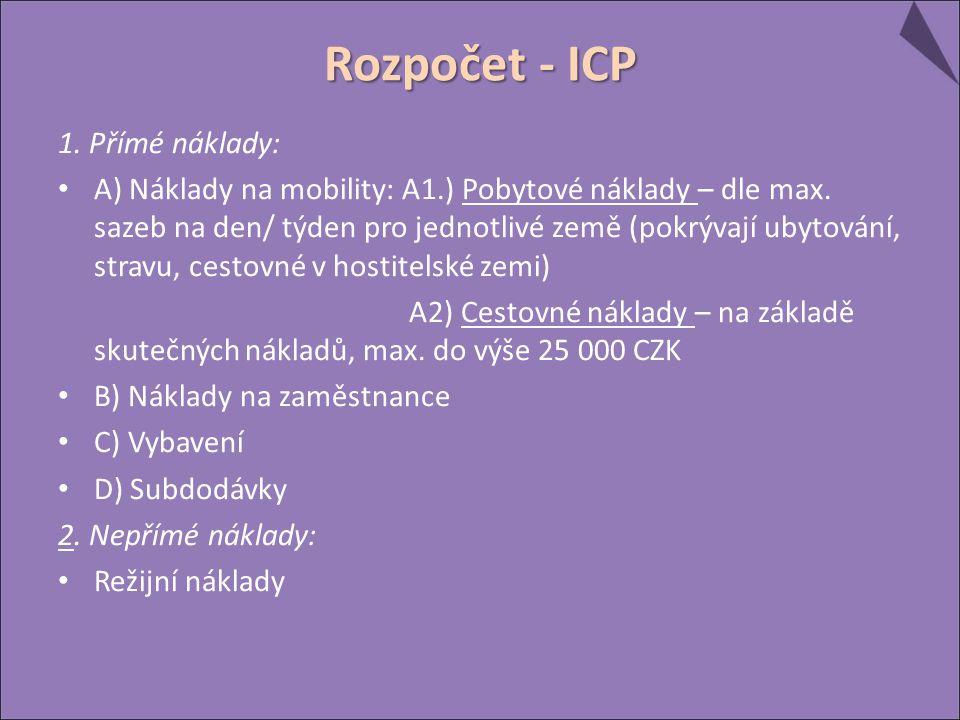 Rozpočet - ICP 1. Přímé náklady: A) Náklady na mobility: A1.) Pobytové náklady – dle max. sazeb na den/ týden pro jednotlivé země (pokrývají ubytování